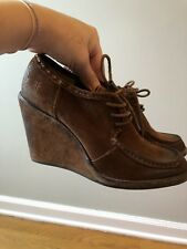 Frye Caroline Lace Up-Charcoal Brown Suede wedge Ankle Booties size 9