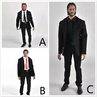 "Free Shipping 1/6 Men Black Suit Full Set For 12"" Hot Toys Phicen Male Figure"