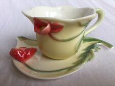 Decorative 3D porcelain cup & saucer with flowers & leaves mint  condition