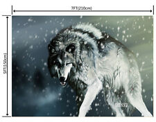 7X5FT CP Vinyl Studio Backdrop Photography Prop Wolf Snow Photo Background DB853