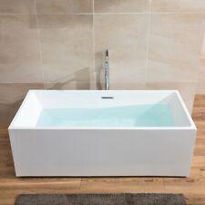 67 Inch Freestanding Acrylic Bathtub Glossy White Tub with Chrome Overflow&Drain