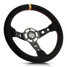 330mm Deep Dished Suede Leather Sport Steering Wheel w/ MOMO Horn