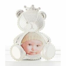NEW Silver Polished Baby Lace Teddy Bear Photo Frame Christening Baby Gift 58583