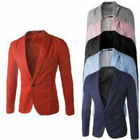 Men's Casual Slim Fit One Button Suit Blazer Coat Jacket Tops Men Fashion Suit