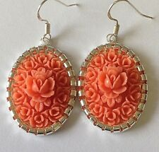 Victorian Coral ROSE Handcrafted dangle earrings 925 STERLING Silver wires