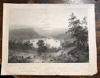 Lake George New York 1839 Antique Lithograph Milbert Sabatier