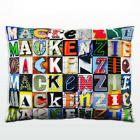 Personalized Pillow featuring the name MACKENZIE in photos of sign letters