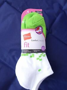 4 Pack Hanes Fit Low Cut Comfort Socks Pink White Green Great Quality 5-9