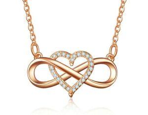 Damen Halskette Unendlichkeit Herz Anhänger 925 Silber Collier Geschenk Rosé