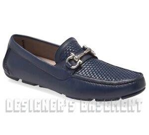 SALVATORE FERRAGAMO blue leather 9.5E PARIGI BIT driving Moccasin shoes NIB Auth