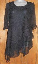 NWT PRETTY ANGEL blouse shirt tunic Blouse GYPSY ruffles & lace VINTAGE black MD