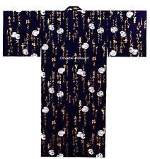 "Japanese Men's Cotton 59""L Yukata Kimono DARUMA Calligraphy Navy, Made in Japan"