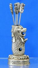 PEWTER LION FISH COCKTAIL HOLDER W/ 4 Hors d'oeuvre Forks / Olive Picks