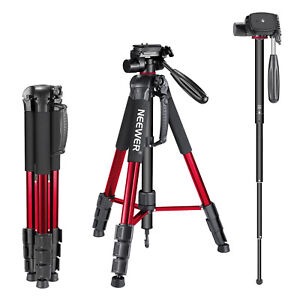 Neewer Camera Tripod Monopod 70inches Aluminum Alloy Red with Handle Pan Head