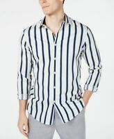 INC Mens Casual Shirt White Size Large L Striped Print Button Down $69- 338