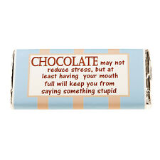Milk Chocolate 100grm Bar with novelty wrappers 'reduce stress'