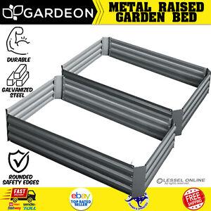 2 PCS Raised Garden Bed Galvanised Steel Vegetable Fruit Flower Planter Box Grey