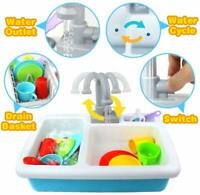 KIDS PRETEND PLAY WATER SINK KITCHEN ROLE PLAY REAL WATER SPRAY SET GIFT TOY