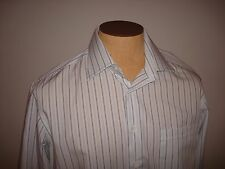 Men's Canali Shirt with Black & White Stripes Eur 41 Size 16 EUC Made in Italy