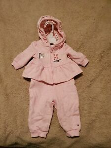 3 Mo Tommy Hilfiger Set Sweatpants Hoodie Pink Girl's Baby Ruffle Logo