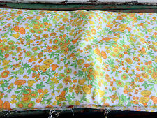 Vintage MOD Retro Fabric Heavy Cotton Pique Orange Yellow Green Floral 2+yds 44""