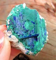 Blocky Pseudomorph -- Chatoyant Green Malachite After Azurite Morroco   :)  :)