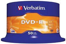 100 DVD -R VERBATIM vergini vuoti MATT SILVER AZO 16x 4.7gb dvdr r +2cd omaggio