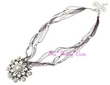 Stunning Vintage Silver Deco Gatsby Pearl Statement Snowflake Pendant Necklace