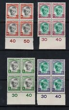 Luxembourg #B45 - #B48 Very Fine Never Hinged Blocks With Plate Numbered Margins