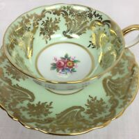 Vintage Paragon Bone China Cup & Saucer Green Gold Floral HM The Queen