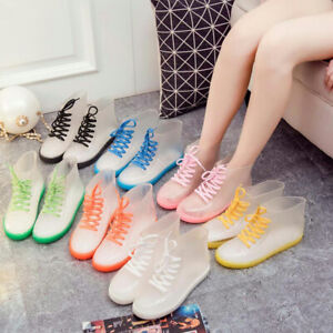Women Ankle Rain Boots Transparent Waterproof Rubber Lace Up Anti-Skid Shoes