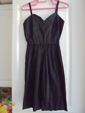 Belle robe d'été à bretelles noire en SOIE de femme taille M 38 TBE
