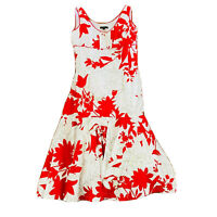 Linea Women's Size 10 A-Line Dress Fully Lined Red White