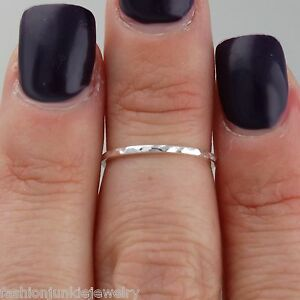 Thin Hammered Midi Ring - 925 Sterling Silver - Knuckle Ring Band Size 3 NEW