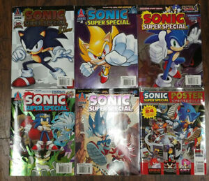 Sonic Super Special Magazine #1-4 6 & Poster Lot of 6 Archie Comics