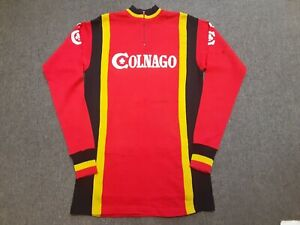 VTG 70s 80s COLNAGO L/S Wool Bicycle Cycling Jersey Shirt Red sz 5 Made In Italy