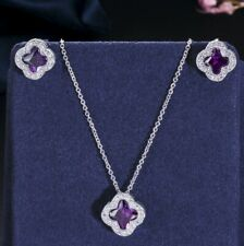 Clover Natural Flower Fire Amethyst Gems Silver Necklaces Pendants Earrings Set