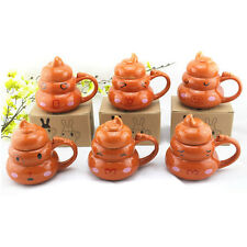 NEW Novelty Poo Shaped 1pc x Ceramic Coffee Mug Tea Cup Water Pot with Lid 449