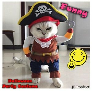 Funny Pet Clothe Cosplay Pirate Dog Cat Halloween Party Cute Comfort Costume New