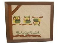 NOBODY'S PERFECT Owls on Branch Barnwood Framed Completed Embroidery Needlepoint
