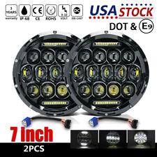 "Pair 7"" INCH DOT LED Headlights Halo Angle Eye For Jeep Wrangler CJ JK LJ 97-18"