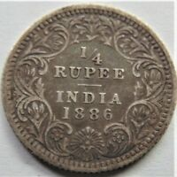 1886 c INDIA BRITISH VICTORIA, 1/4 Rupee, grading FINE.