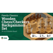 Wooden Folding Chess Checkers Backgammon Set 35cm
