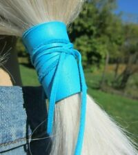 Ponytail Holder Tie Leather Hair Wrap Cuff Jewelry Black Brown Turquoise Blue