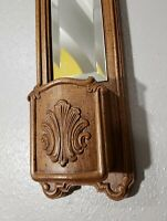 Vintage Homco Mirror / Wall Pocket Mid Century Modern / Retro Faux Wood Resin