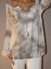 Wunderschöne Bluse 50% Seide Batik Häkel Tunika Italy S 36-40 M Taupe Must Have