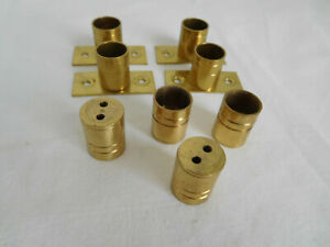 """CHOICE Solid BRASS BARREL BRACKETS for 1/2"""" cut to measure tube Kirsch NOS"""