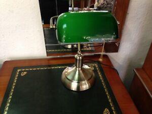 Green Glass Desk Lamp, Traditional Bankers Desk Lamp