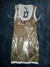 "NEW 1 6 8 TED BAKER ""Dwyer"" jumper dress cream gold sequin long unusual designer"