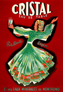 Original Cristal Eau de Table  Cafe Restaurant Alcohol Bar Pub Print Poster